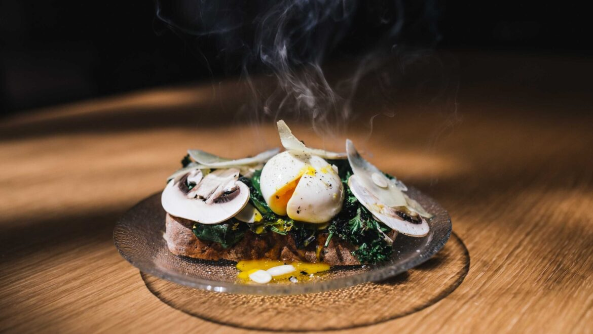 Mushroom hash with poached eggs