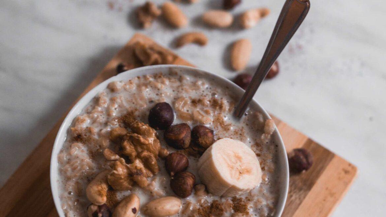 Pink barley porridge with vanilla yogurt