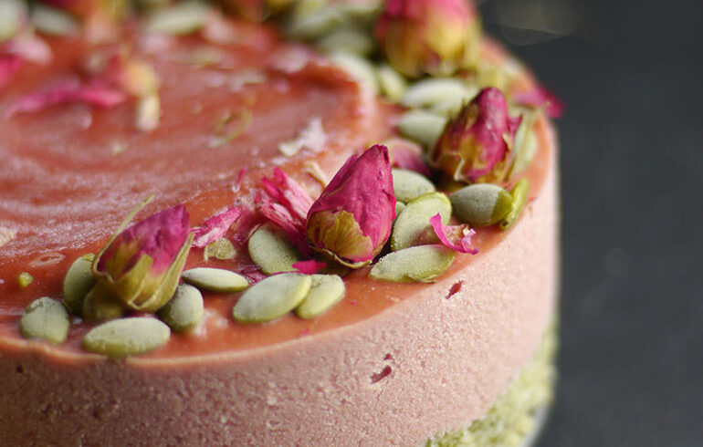 STRAWBERRY LIME PARSNIP CHEESECAKE